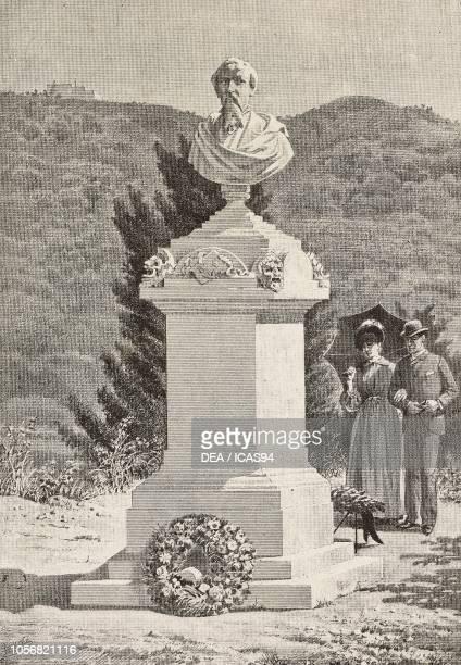 Monument to Paolo Giacometti in Staglieno cemetery Genoa Italy engraving from a drawing by Alberto della Valle from L'Illustrazione Italiana No 37...