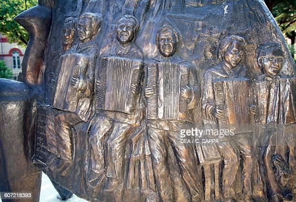 Monument to Paolo Soprani founder of the Italian accordion industry Castelfidardo Marche Italy