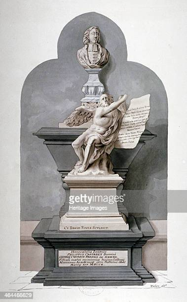 Monument to Philip Carteret in the north nave aisle of Westminster Abbey London c1750
