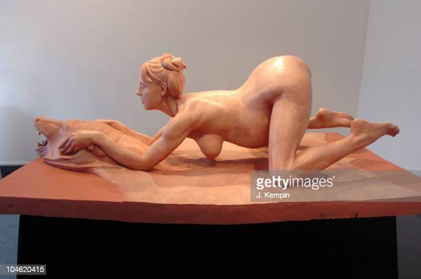 Monument To ProLife sculpture depicting a nude Britney Spears on a bearskin rug while giving birth