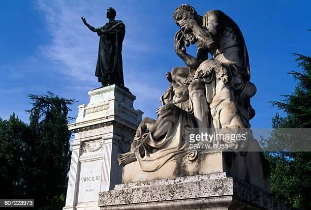 Monument to Roman poet Virgil Piazza Virgiliana Mantua Lombardy Italy 20th century