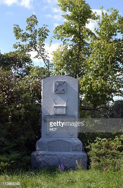 A monument to the 128th New York regiment sits on a roadside turn off near the Cedar Creek battlefield in Virginia's Shenandoah Valley The monument...