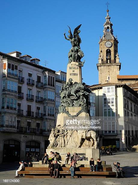 monument to the battle of vitoria - vitoria spain stock pictures, royalty-free photos & images