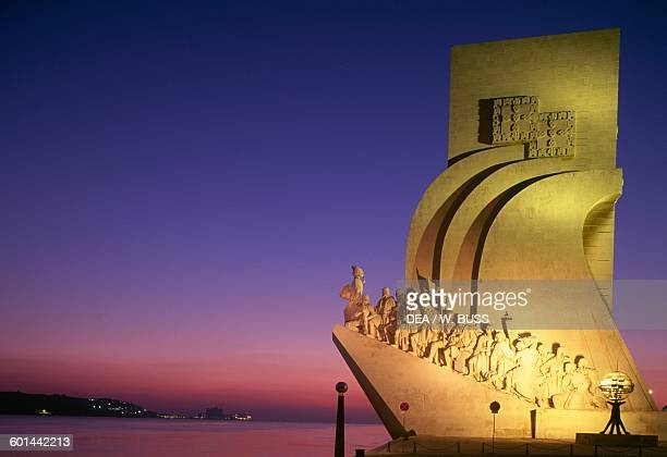 Monument to the Discoveries at sunset by Leopoldo Neves de Almeida on the bank of the Tagus river Belem district Lisbon Portugal 20th century