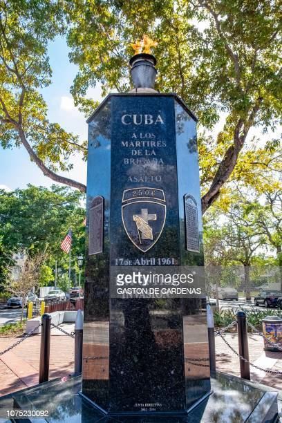 Monument to the fallen in the Bay of Pigs Invasion Miami December 22 2018 The Eternal Flame honors the Cuban exiled who fell fighting against the...