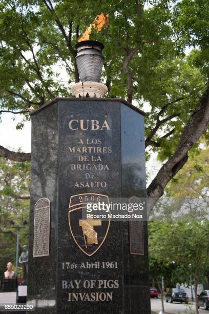 Monument to the fallen in the Bay of Pigs Invasion The Eternal Flame honors the Cuban exiled who fell fighting against the Fidel Castro government