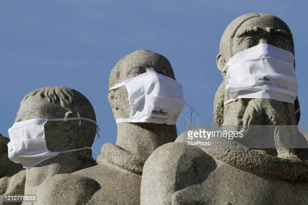 Monument to the Flags in Ibirapuera Park in the city of Sao Paulo dawned with protective masks on May 12 2020 The action is to make the population...