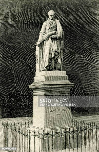 Monument to the Italian patriot Silvio Pellico Saluzzo Piedmont Italy woodcut from Le cento citta d'Italia illustrated monthly supplement of Il...