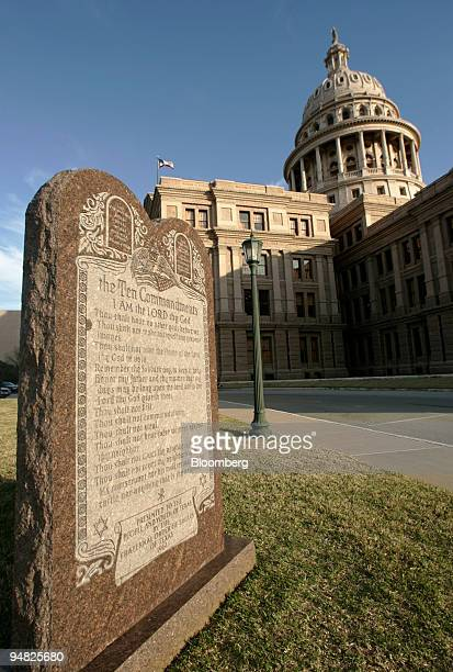 A monument to the Ten Commandments is shown on the north grounds of the Texas State Capital in Austin Texas Thursday February 17 2005 The monument...