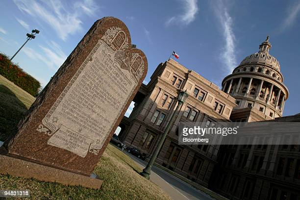 A monument to the Ten Commandments on the north grounds of the Texas State Capital in Austin Texas is shown Thursday February 17 2005 The monument...