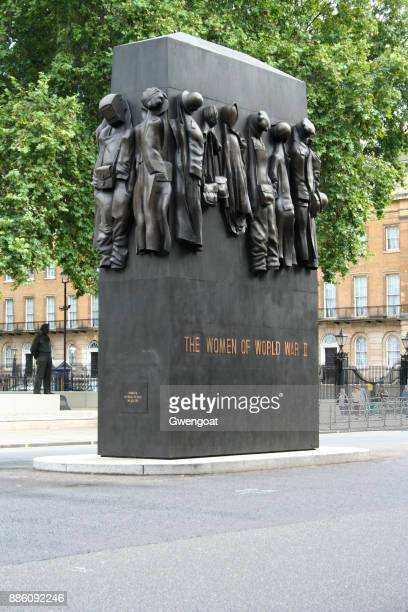 monument to the women of world war ii in london - whitehall london stock photos and pictures