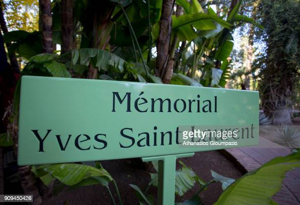 A monument to Yves Saint Laurent at the Majorelle Garden on January 04 2018 in Marrakesh Morocco The Jardin Majorelle in Marrakech is one of the most...
