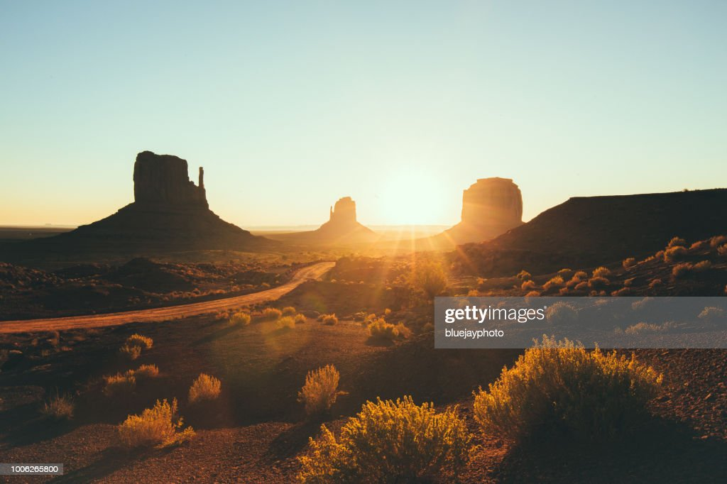 Monument Valley at sunrise, Arizona, USA : Stock Photo