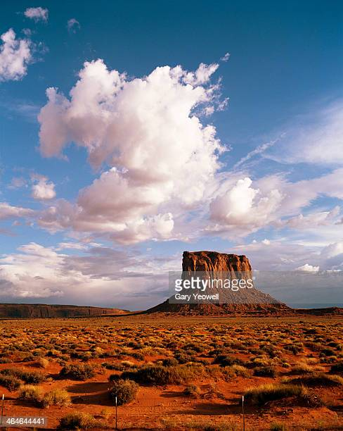 monument valley butte with storm clouds overhead - yeowell foto e immagini stock