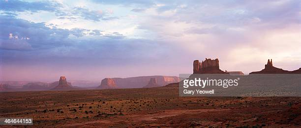 monument valley in dust storm - monument valley tribal park stock photos and pictures