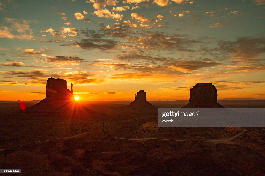 Monument Valley on the border between Arizona and Utah : Stock Photo