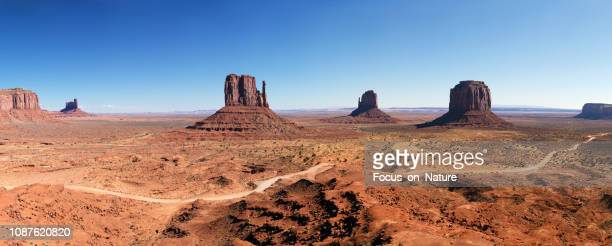 monument valley panoramic - monument valley tribal park stock photos and pictures