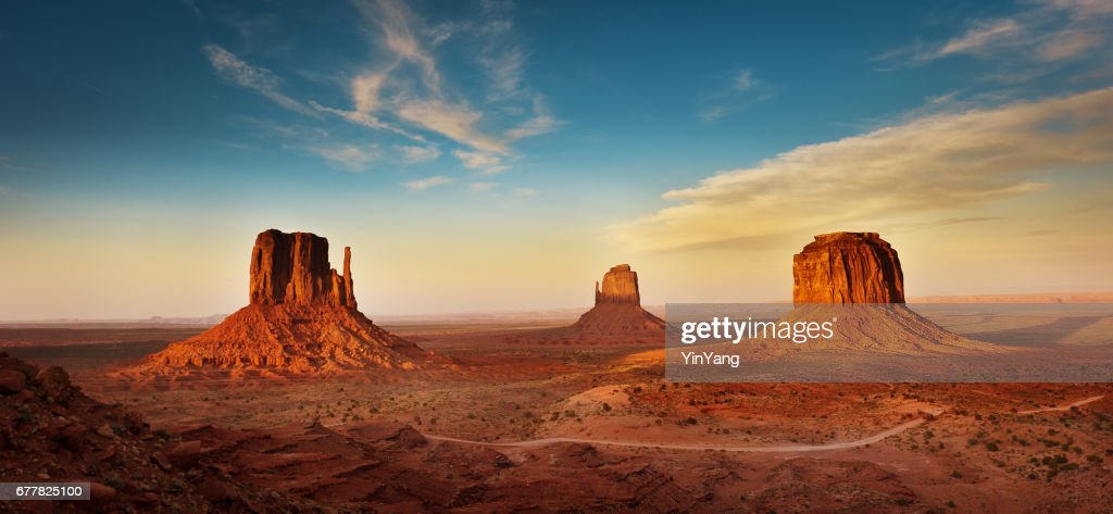 Monument Valley Tribal Park Landscape at Sunset : Stock Photo