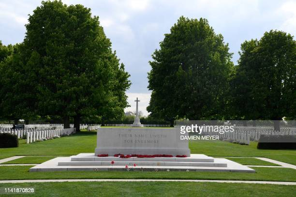 A monument with the inscription 'Their name liveth for evermore' is seen at the Bayeux War Cemetery in Bayeux northwestern France on May 6 2019 The...