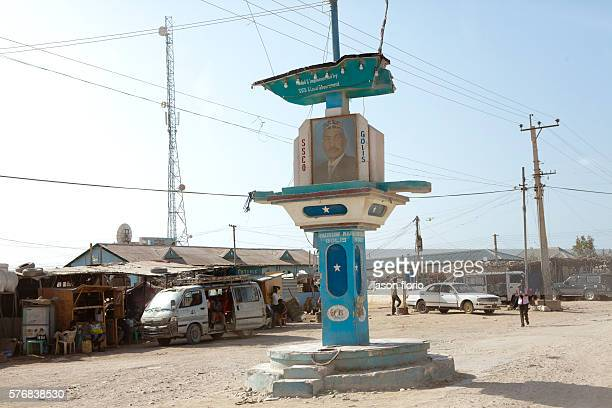 Monument with the picture of the Puntland president Abdirahman Mohamud Farole in the center of the Somali port town of Bossaso in the breakaway state...