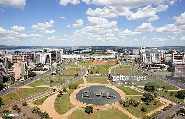 Monumental Axis seen from the Brasilia TV Tower on February 13 2015 in Brasilia Brazil The Monumental Axis is a central avenue in Brasilia it has the...