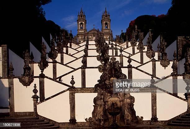 Monumental Baroque stairway at Bom Jesus do Monte sanctuary near Braga Portugal 18th19th century