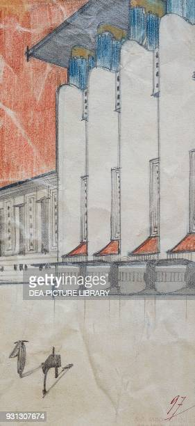Monumental building with steps by Antonio Sant'Elia black pencil blue gray and red pastels orange watercolor on paper 267x135 mm