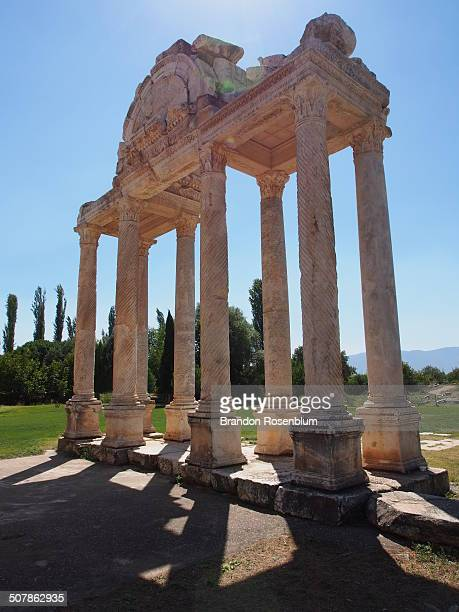 monumental gateway - priene stock photos and pictures