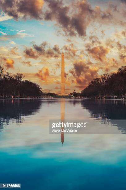 monumental (sunset in dc) - reflecting pool stock pictures, royalty-free photos & images
