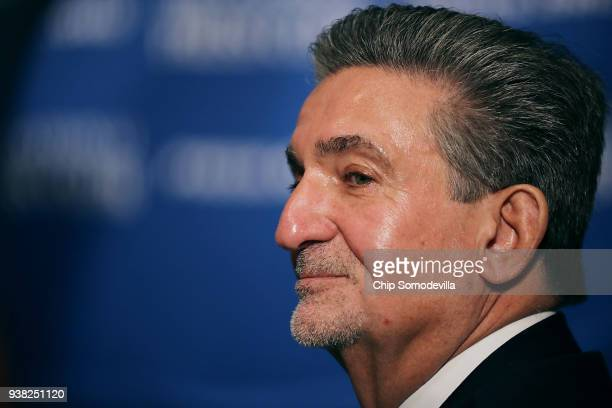 Monumental Sports and Entertainment CEO Ted Leonsis attends a news conference where family friend and fivetime Olympic gold medal swimmer Katie...