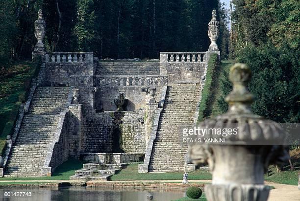 Monumental staircase in the French gardens Chateau de la Roche Courbon SaintPorchaire PoitouCharentes France