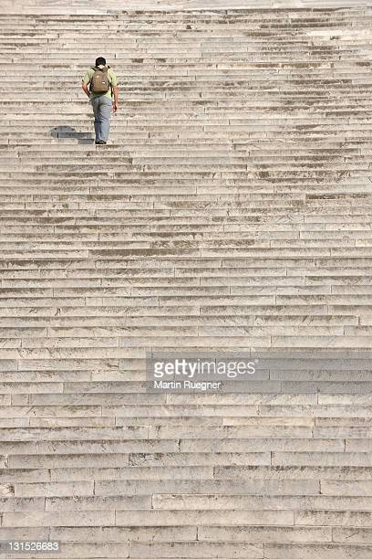 Monumental staircase with one person