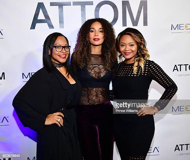 Monyetta Shaw and Bertille Sefolosha attend the ATTOM Atlanta Store Private Opening on November 11 2016 in Atlanta Georgia