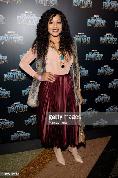 Monyetta Shaw attends the Marvel Studios 'Black Panther' Atlanta movie screening at The Fox Theatre on February 7 2018 in Atlanta Georgia
