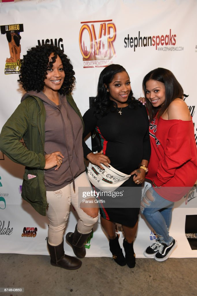 Monyetta Shaw, Toya Wright, and Lena Danielle attend Spreading Ambition Food Drive at CheeseCaked on November 15, 2017 in Atlanta, Georgia.