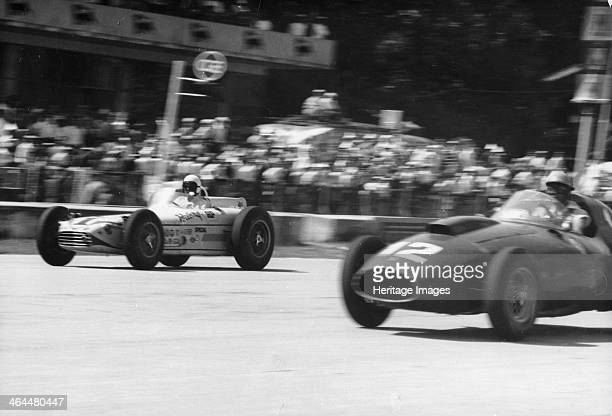 Monza 500 Miles Italy 1958 Luigi Musso in car number 12 and Jimmy Bryan the greatest Indycar driver of the late 1950s in car number 1 competing in...