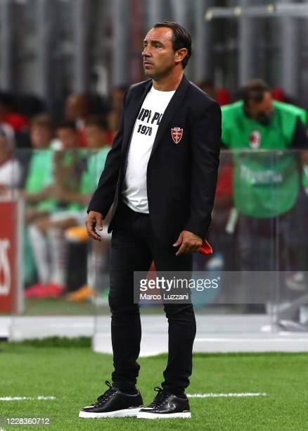 Monza coach Cristian Brocchi looks on during the pre-season friendly match between AC Milan and Monza at Stadio Giuseppe Meazza on September 5, 2020...