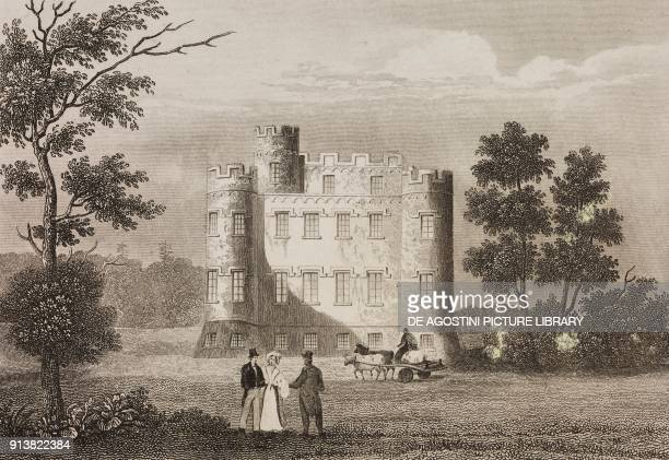 Monzie Castle Scotland United Kingdom engraving by Schroeder from Angleterre Ecosse et Irlande Volume IV by Leon Galibert and Clement Pelle L'Univers...