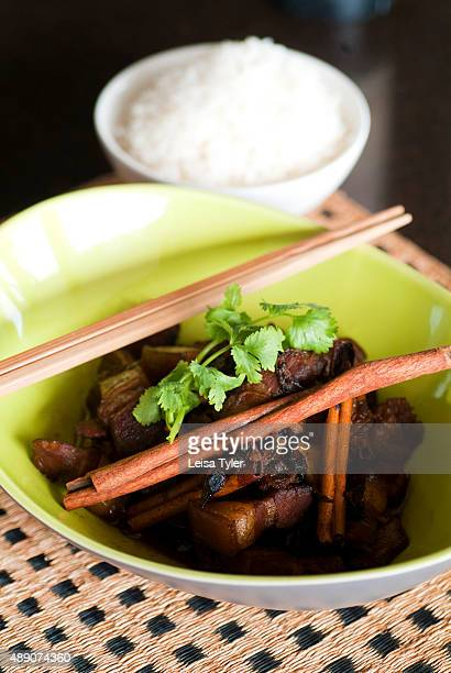 Moo hong braised pork belly with Chinese herbs and cinnamon an example of Baba cuisine a style developed in Phuket by Hokkien Chinese who migrated...