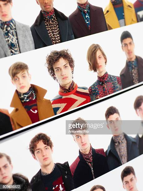 Moodboard is seen backstage ahead of the Salvatore Ferragamo show during Milan Men's Fashion Week Fall/Winter 2016/17 on January 17 2016 in Milan...
