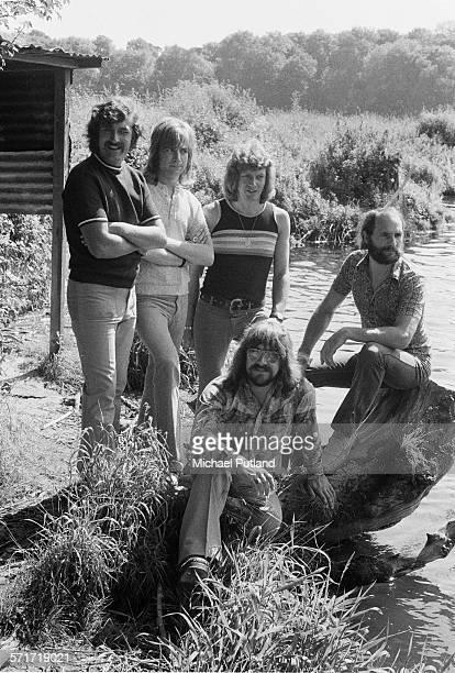 Moody Blues group portrait Cobham Surrey United Kingdom July 1971 LR Ray Thomas Justin Hayward John Lodge Graeme Edge Mike Pinder
