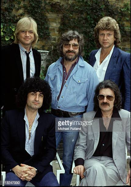 Moody Blues group portrait London 1981 LR Justin Hayward Graeme Edge John Lodge Patrick Moraz Ray Thomas