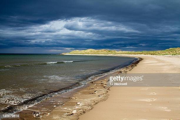 Moody coast of holy Island