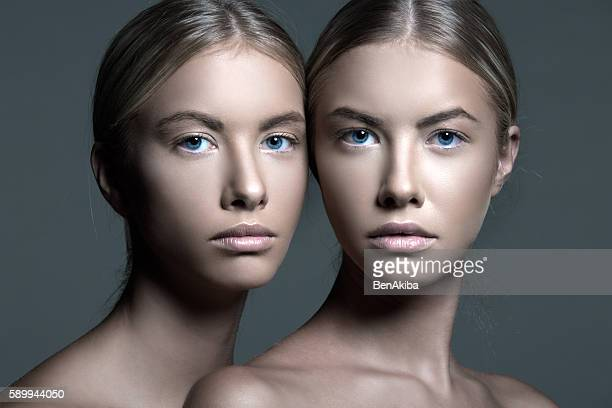 Moody Portrait of a Beautiful Twins