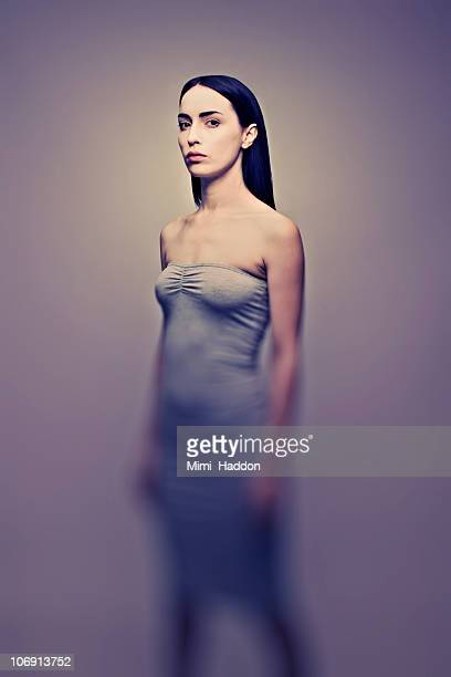 Moody Portrait of Woman in Strapless Dress