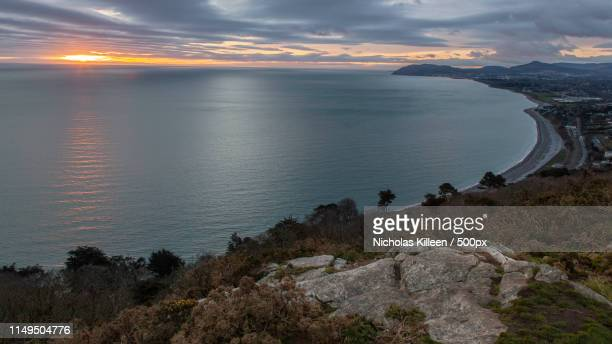 moody sunrise at killiney hill - dalkey stock pictures, royalty-free photos & images