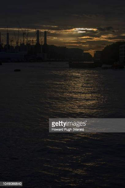 Moody Sunset Over Battersea Power Station & River Thames