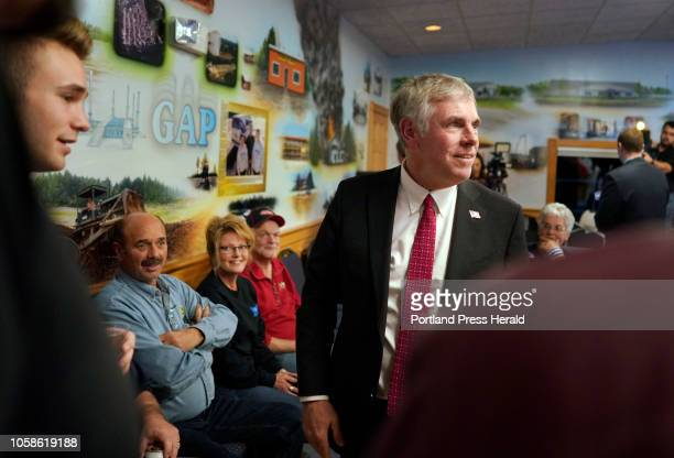 Moody supporters watch election results on Tuesday November 6 2018 at Moody's Collision Center in Gorham the headquarters for Shawn Moody's...