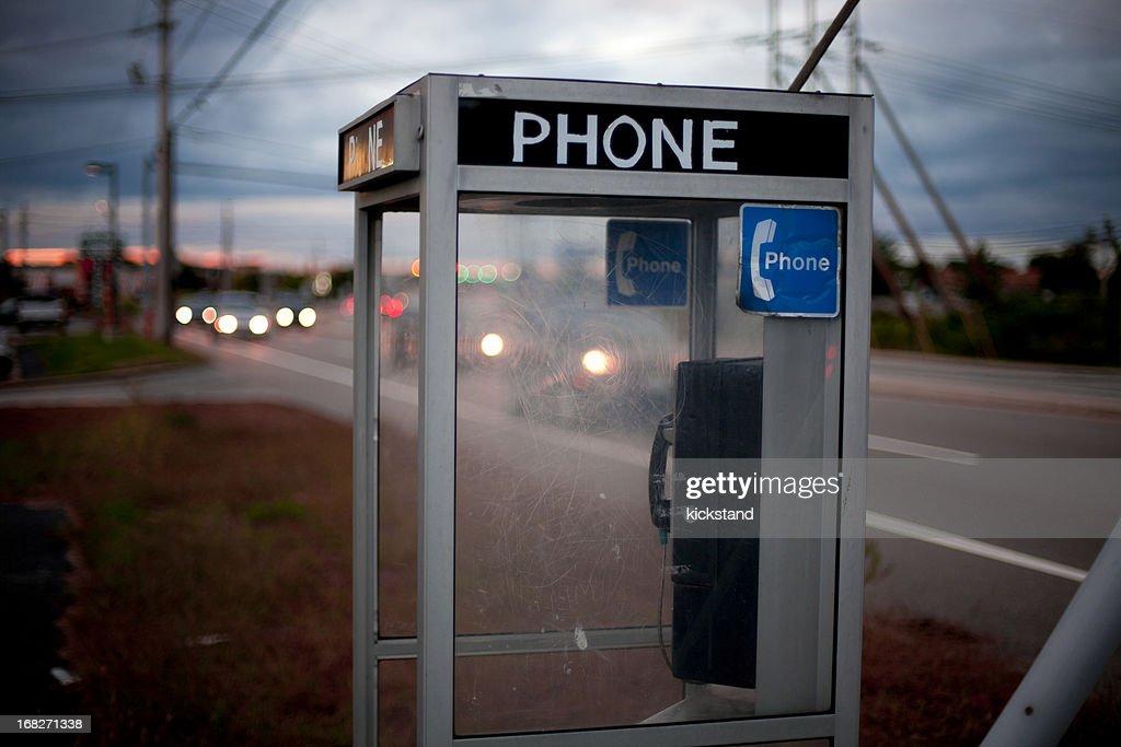 Moody telephone booth : Stock Photo