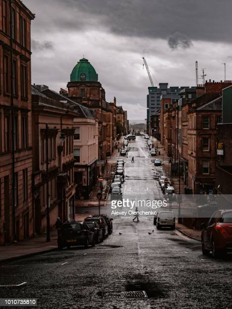 moody view of glasgow streets - glasgow stock pictures, royalty-free photos & images